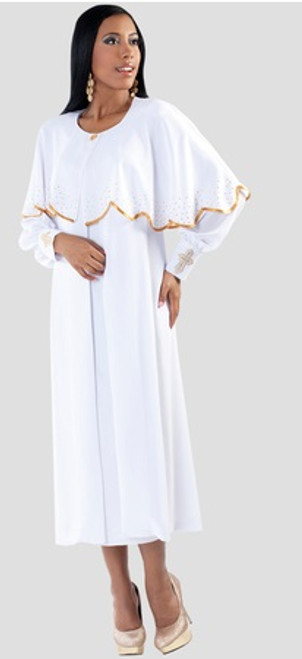 06. Ladies 3-Piece Designer Preaching Dress With Detachable Cape In White & Gold