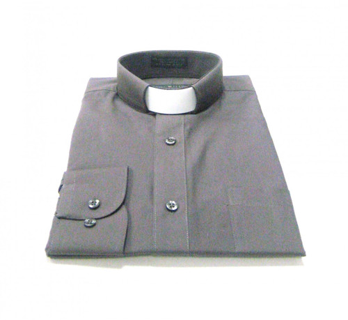 CLEARANCE 101: SHORT SLEEVE Tab Collar Clergy Shirt - CHARCOAL