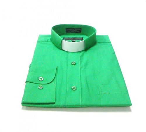 CLEARANCE 101: SHORT SLEEVE Tab Collar Clergy Shirt  - EMERALD GREEN
