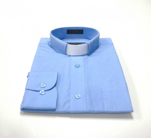 CLEARANCE 101: SHORT SLEEVE Tab Collar Clergy Shirt - LT BLUE
