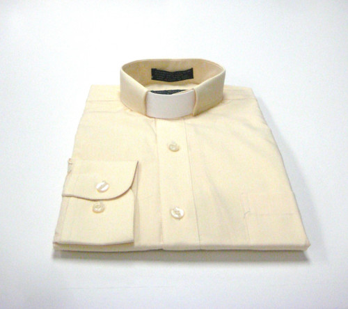 CLEARANCE 101: SHORT SLEEVE Tab Collar Clergy Shirt - SOFT BUTTER