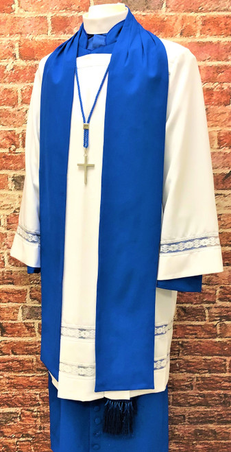 0002 Non-Denominational Vestment in Royal Blue - 6 Pieces Included