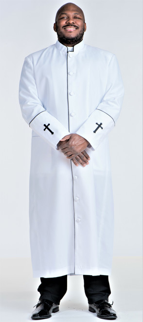 001. Clearance: Men's Preacher Clergy Robe in White & Black