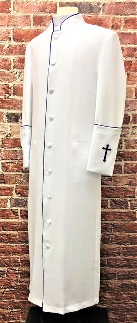 001. Clearance: Men's Preacher Clergy Robe in White & Purple
