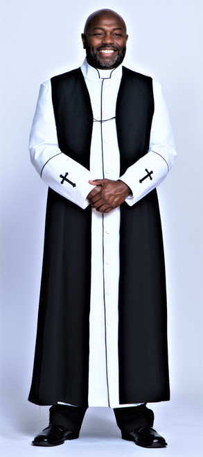 006. Men's Preacher Clergy Robe & Chimere Set in White & Black
