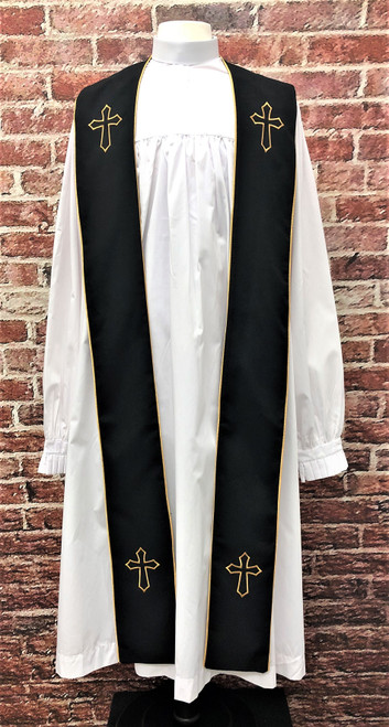 001. Trinity Clergy Stole in Black & Gold