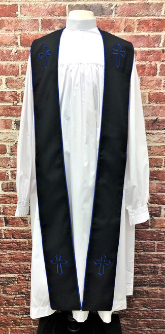 001. Trinity Clergy Stole in Black & Royal