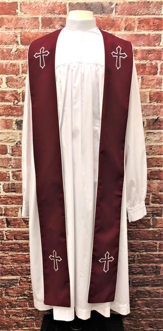 001. Trinity Clergy Stole in Burgundy & White