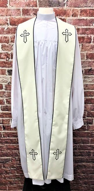 001. Trinity Clergy Stole in Cream & Black