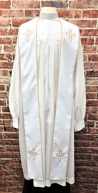 001. Trinity Clergy Stole in White & Gold