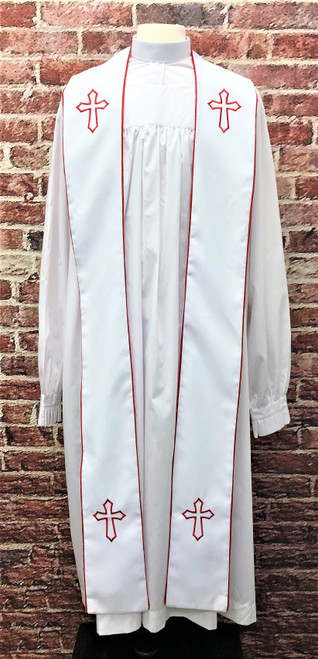 001. Trinity Clergy Stole in White & Red