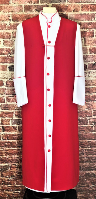 001. Men's Adam Clergy Robe & Chimere Set in White & Red