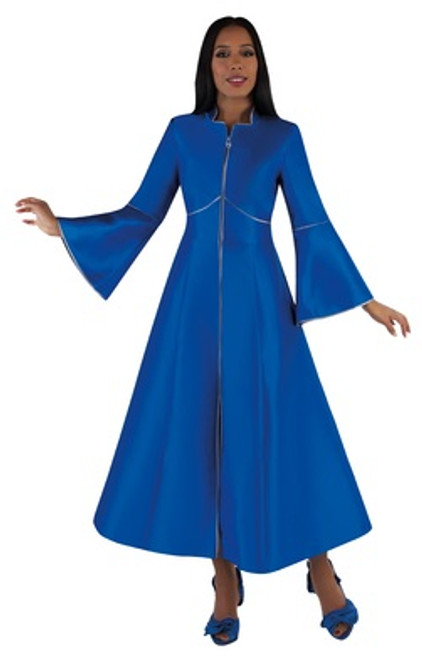 02. Ladies 1-Piece Preaching Robe Dress With Zipper Front - 3 Colors Available