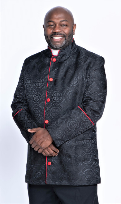 001. Men's Joshua Clergy Jacket in Black & Red