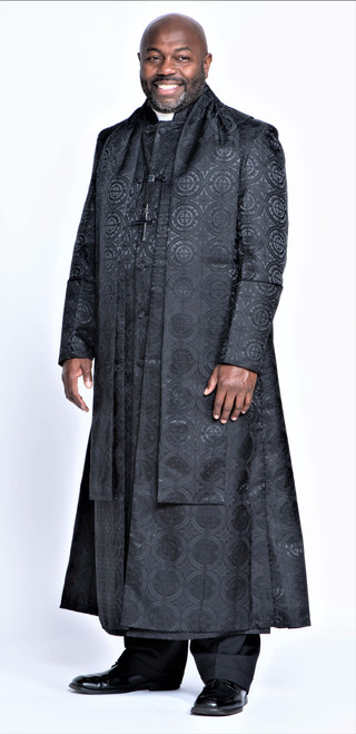 0001. Men's Joshua Clergy Vestment in Solid Black - 5 Pieces Included