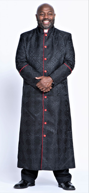 001. Men's Joshua Clergy Robe in Black & Red
