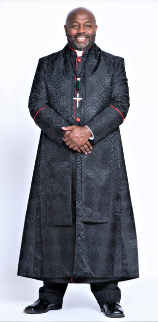 0001. Men's Joshua Clergy Vestment in Black & Red - 5 Pieces Included