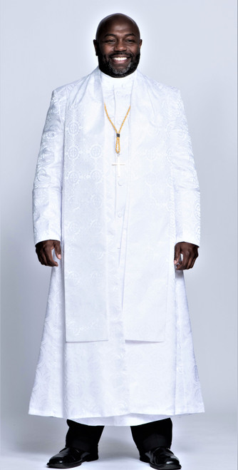 0001. Men's Joshua Clergy Vestment in Solid White - 5 Pieces Included