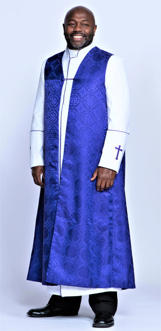 002. Joshua Clergy Robe & Chimere Set in White & Purple