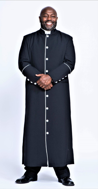 001. Men's Adam Clergy Robe in Black & White