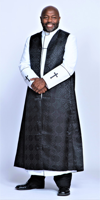 002. Joshua Clergy Robe & Chimere Set in White & Black