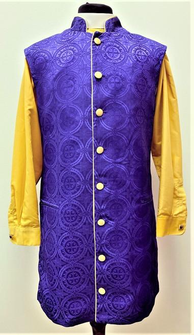Roman 3/4 Clergy Apron In Purple & Gold