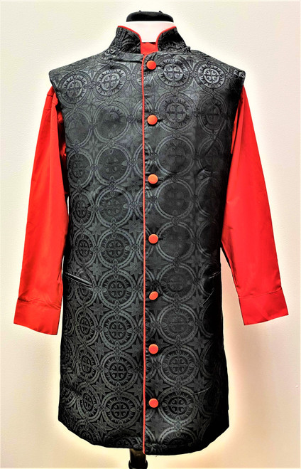 008. Roman 3/4 Clergy Apron In Black & Red