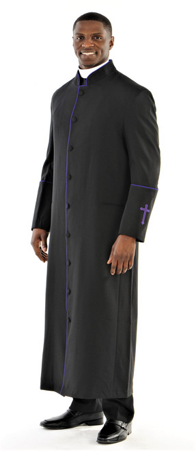 001. Men's Preacher Clergy Robe in Black & Purple