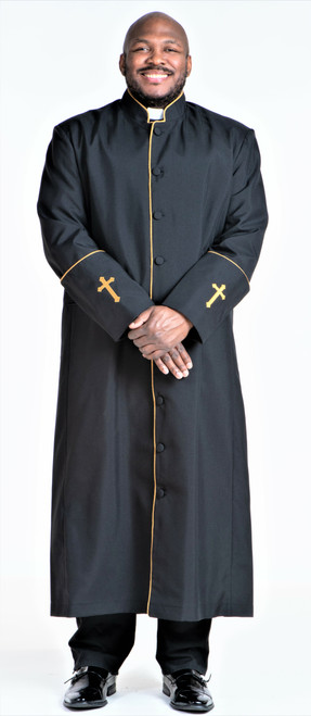 001. Men's Preacher Clergy Robe in Black & Gold