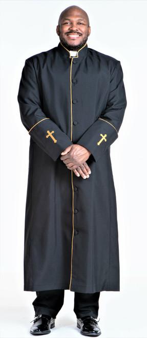 001. Men's Preacher Clergy Robe in Black & Gold