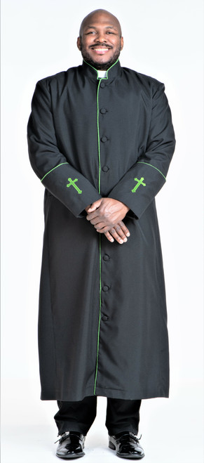 001. Men's Preacher Clergy Robe in Black & Green