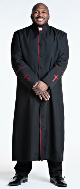001. Men's Preacher Clergy Robe in Black & Red