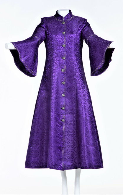 001 Ladies 1-Piece Designer Clergy Dress In Purple