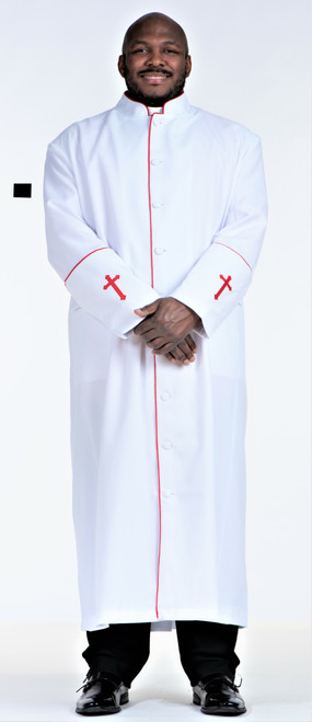 001. Men's Preacher Clergy Robe in White & Red