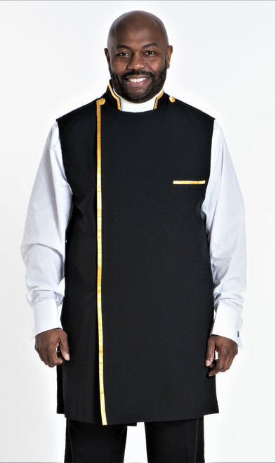 Modern Clergy Apron In Black & Gold