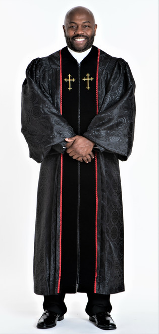 0001 Men's JT Wesley Pulpit Robe in Black & Red