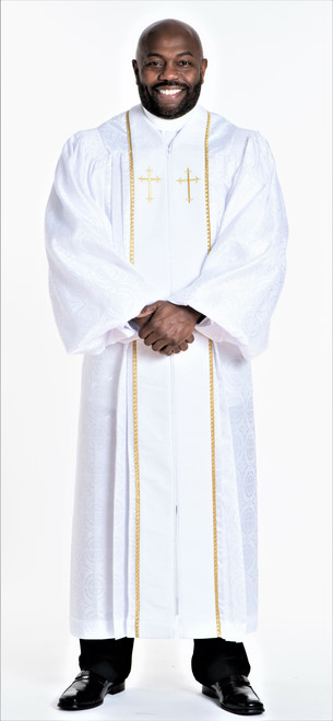 0001 Men's JT Wesley Pulpit Robe in White & Gold