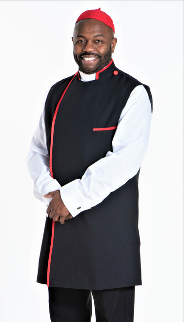Modern Clergy Apron Set In Black & Red With Matching Zucchetto