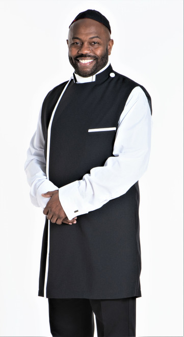 Modern Clergy Apron Set In Black & White With Matching Zucchetto