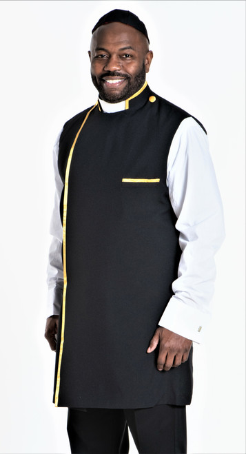 Modern Clergy Apron Set In Black & Gold With Matching Zucchetto