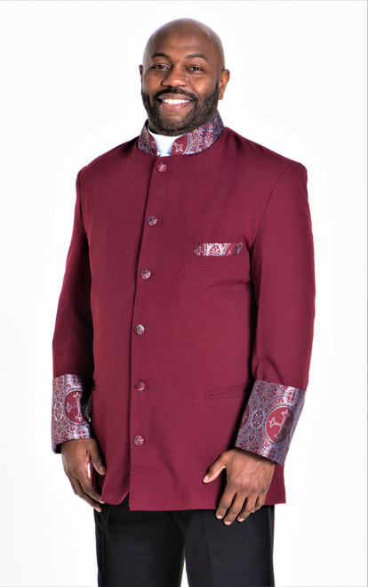 001. Men's Joseph Clergy Jacket in Burgundy & Silver
