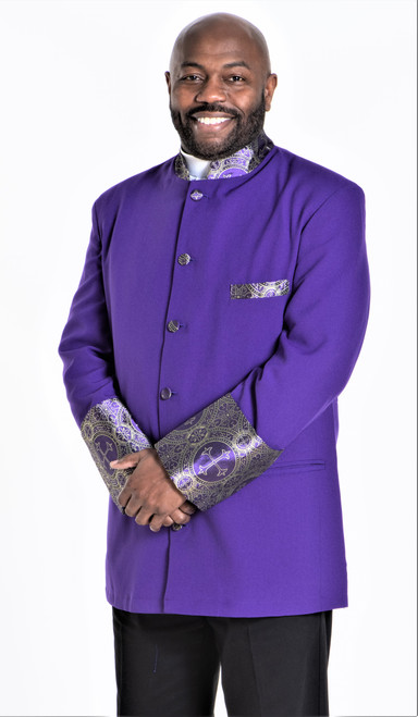 001. Men's Joseph Clergy Jacket in Purple & Gold