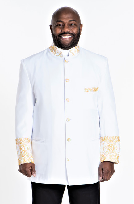 001. Men's Joseph Clergy Jacket in White & Gold