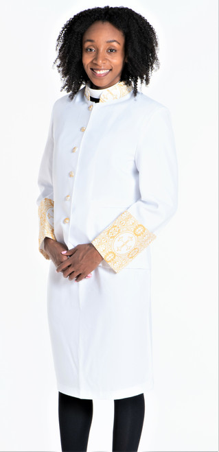 Sarah 2-Piece Jacket & Skirt Set For Ladies In White & Gold