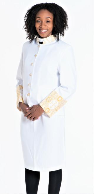 Sarah 2-Piece Jacket & Skirt Set For Ladies In White & Gold