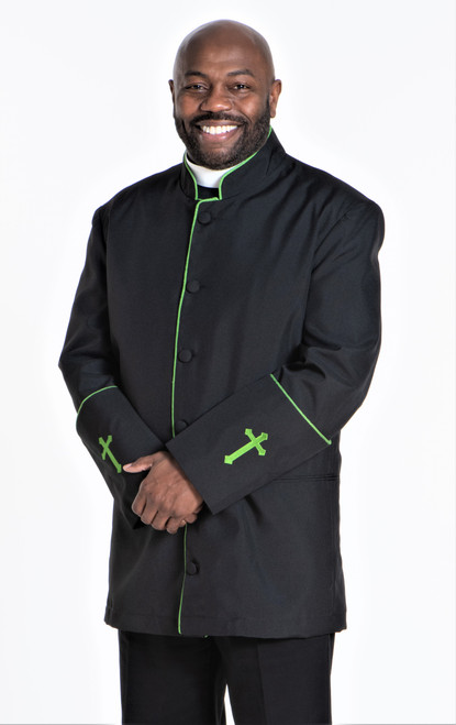 001. Men's Preacher Clergy Jacket in Black & Green