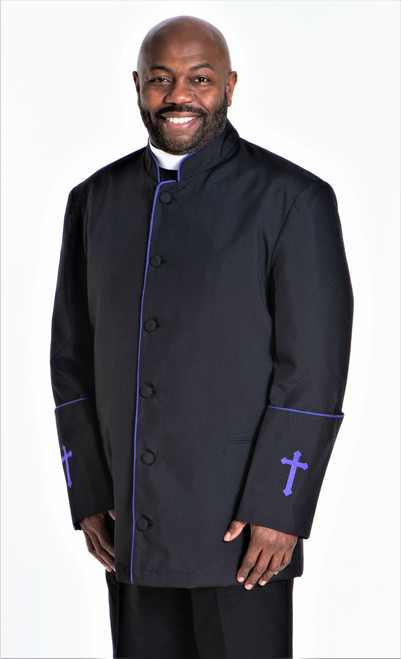 001. Men's Preacher Clergy Jacket in Black & Purple