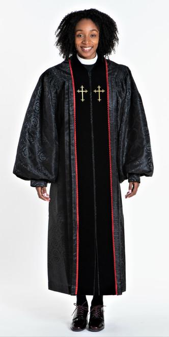 01. Ladies JT Wesley Pulpit Robe in Black & Red