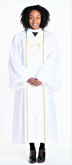 01. Ladies JT Wesley Pulpit Robe in White & Gold