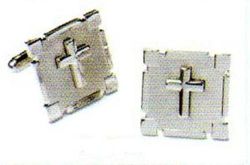 Cufflink Set in Silver w/ Silver Cross